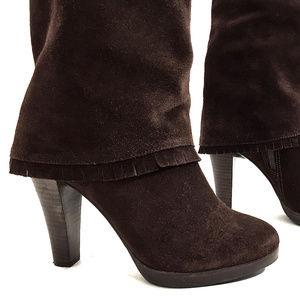 Matisse Dark Brown Suede Boots w/ Fringe Detail